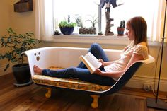 I've never seen Breakfast at Tiffany's but I love this clawfoot bathtub couch in a serious way.