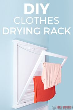 See how I built this DIY folding clothes drying rack for our laundry room. Full video tutorial and FREE plans inside! See how I built this DIY folding clothes drying rack for our laundry room. Full video tutorial and FREE plans inside! Diy Furniture Projects, Diy Furniture Plans, Diy Projects, Pallet Projects, Project Ideas, Diy Clothes Drying Rack, Laundry Rack, Folding Laundry, Diy Clothes Refashion