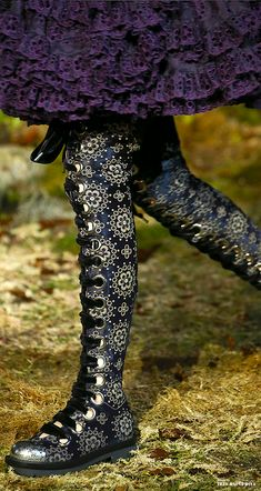 """#Alexander #McQueen Fall/Winter 2014 RTW - #Paris Fashion Week rocking roccoco super hi lace up boots"""
