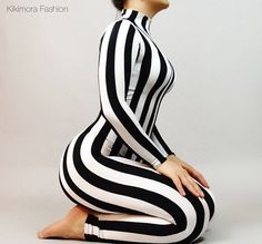 Stripe catsuit unitard bodysuit costume. by KikimoraFashion