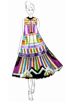 Croquis de Mary Katrantzou pour sa collection printemps-été 2013
