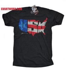 USA America T shirt - Triblend Black                           | GV Art and Design