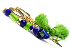 Scissor Fob Beaded Lime Cobalt Needlepoint Sewing by TJBdesigns, $18.00