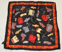Brighton Scarf 100% Silk Black Red Gold Trim Shoes Purses Jewelry 21x21 Square #Brighton #Scarf http://stores.ebay.com/Lost-Loves-Toy-Chest/_i.html?image2.x=32&image2.y=15&_nkw=brighton+scarf