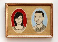 custom mid-century style couple portrait by JordanGraceOwens