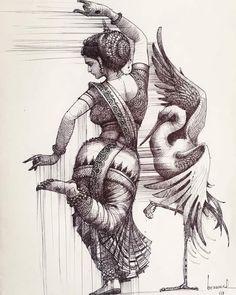 allsensesyoga — hinducosmos: Dance of Chilika Artist: Bijay. Abstract Pencil Drawings, Dark Art Drawings, Landscape Pencil Drawings, Dance Paintings, Indian Art Paintings, Indian Women Painting, Girl Drawing Sketches, Art Drawings Sketches Simple, Beautiful Sketches