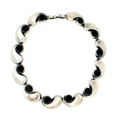 Antonio Pineda .970 Onyx Silver Modernist Necklace | From a unique collection of vintage choker necklaces at http://www.1stdibs.com/jewelry/necklaces/choker-necklaces/ 2800-