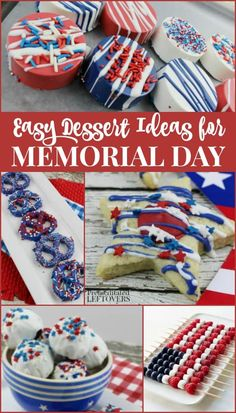 Quick and Easy Memorial Day Desserts - Red White and Blue Dessert Recipes Patriotic Desserts, Blue Desserts, 4th Of July Desserts, Fourth Of July Food, Holiday Desserts, Holiday Treats, Easy Desserts, Holiday Recipes, Dessert Recipes