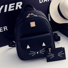 Cute cartoon cat backpack SE8690 Black Leather Backpack, Pu Leather, Cute  Cartoon, Backpack e6025ae371