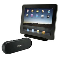 iHome Portable Bluetooth®, iPad®, iPhone® SpeakerThe iDM12 is an innovative Bluetooth® speaker system with a removable iPad® stand and a built-in lithium-ion rechargeable battery. Two (2) active speaker drivers and one (1) passive radiator provide excellent sound in a small package. The iPad stand, compatible with both the first generation iPad, and iPad 2, has fold out feet for added stability and attaches magnetically to the speaker for travel. Enjoy music virtually anywhere with the iDM12…