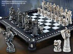 The Final Challenge Chess Set   A remarkable recreation of the Final Challenge Chess Set as seen in the movie Harry Potter and the Sorcerer's Stone™ . The 32 chess pieces are made to exact detail and measure from 2 1/2 to 5 1/2 inches in height. The set comes complete with a striking playing board display measuring 20 x 20 inches. Ground shipping only.