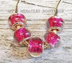 15 PINK GLITTER European Style CharmsBulk Lot Glass Beadsfor DIY Bracelets