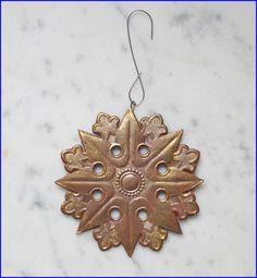Rare Dresden gold embossed cardboard star, ca. 1910/1920  (# 6575)