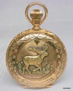 Waltham 1891 14k Multi-Tone Gold Full   Deer Pocket Watch