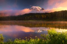 Mount Rainer Reflection Lakes Sunrise July 2006 by kevin mcneal, via Flickr