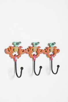 Triple Bird Hook at Urban Outfitters Urban Outfitters Apartment, Entryway Hooks, Buy Birds, Mason Jar Candles, Iron Wall, Little Girl Rooms, Room Accessories, Cool Rooms, Wall Hooks