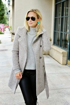 gray for fall, tweed coat, turquoise earrings, cozy turtleneck holiday outfit idea