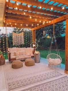 Porch swing and pergola outdoor inspo. #Pergola #swing #outdoor #patiodecor #patio #summer #modernfarmhouse Backyard Patio Designs, Backyard Projects, Backyard Porch Ideas, Backyard Shade, Backyard Pools, Balcony Ideas, Back Yard Patio Ideas, Backyard Landscaping, Backyard Swings