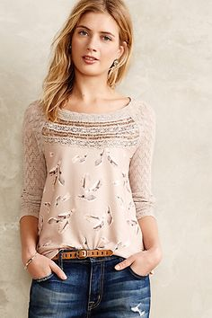 Aves Lace-Trimmed Pullover #anthropologie