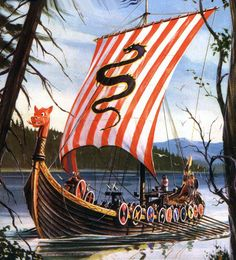 Artwork on the box of the model of the Aurora Viking Ship.