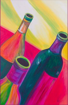 Wine Bottles - acrylic by ©Debi Pople  Doesn't look flat like some acrylics - wonder how she gets this bright look?