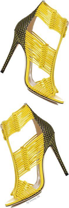 Jimmy Choo ~ 'Kattie' Canary + Black Sandals Summer 2015
