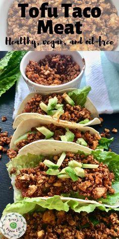 Vegetarian Dinners, Vegan Dinner Recipes, Veggie Recipes, Whole Food Recipes, Vegetarian Recipes, Healthy Recipes, Firm Tofu Recipes, Healthy Tacos, Tofu Dishes
