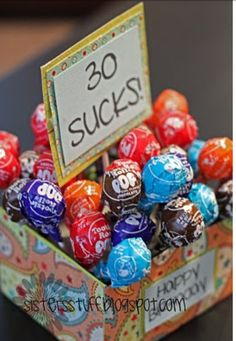 Fun 30th birthday idea lol  30 rocks with pop rocks. Let them choose!