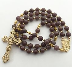 Catholic Rosary, Purple Aventurine Beads, Miraculous Medal of Mary, Gold Crucifix, Religious Gift, Prayer Beads, Purple Rosary