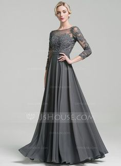 A-Line/Princess Scoop Neck Floor-Length Beading Sequins Zipper Up Sleeves Long Sleeves No Steel Grey General Plus Chiffon US 2 / UK 6 / EU 32 Mother of the Bride Dress Mother Of The Groom Gowns, Mother Of The Bride, Mob Dresses, Fashion Dresses, Bride Dresses, Vestidos Mob, Bridesmaid Dress Colors, Chiffon Evening Dresses, Mothers Dresses