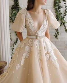 Sumnus Women's Organza Long Prom Dresses Lace Appliques Ball Gown Quinceanera Formal Party Dresses for Women Girls Beige Dresses, Elegant Dresses, Pretty Dresses, Beautiful Dresses, Evening Dresses, Prom Dresses, Formal Dresses, Wedding Dresses, Dress Vestidos