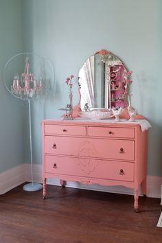 antique dresser shabby chic distressed coral salmon cottage prairie vintage