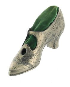 Antique Victorian Silver Shoe Pin Cushion