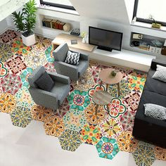 Picture 10 of 11 Morrocan Tiles Kitchen, Morrocan Floor Tiles, Kitchen Wall Tiles, Kitchen Flooring, Wall Sticker, Wall Vinyl, Pvc Vinyl, Tile Stickers Kitchen, Wall Waterproofing