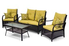 Shop for Sol Siesta Clubhouse Collection Brown Steel/Resin Wicker Cushioned Outdoor Patio Furniture Deep Seating Conversation Set. Get free delivery On EVERYTHING* Overstock - Your Online Garden & Patio Shop! Resin Wicker Patio Furniture, Outdoor Furniture Sets, Outdoor Sofa, Outdoor Spaces, Outdoor Decor, Rental Decorating, Deep, Conversation, Home Decor