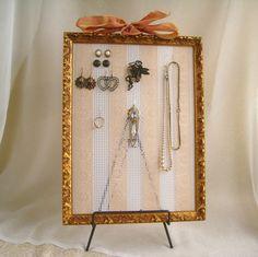 Handmade brown wooden framed jewellery organiser space for