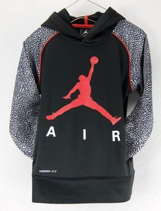 2a88b46385869c Nike Jordan Elephant Print Black Therma-Fit Hoodie Jumpman Logo Boys Size S  M L