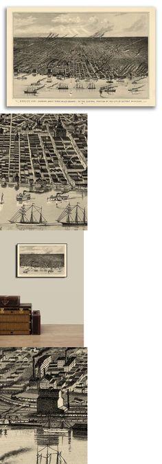 14x24 1884 Cedar Key Florida Vintage Old Panoramic City Map
