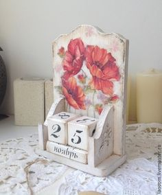 """Вечный календарь """"Маки"""" - ярко-красный,вечный календарь,маки,мак,цветы"""