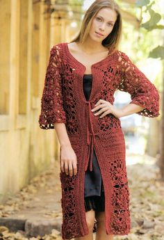 Para Tí Crochet Nº 06 - Melina Crochet - Picasa Web Album Crochet Coat, Crochet Jacket, Crochet Cardigan, Crochet Clothes, Crochet Style, Crochet Pattern, Hippie Crochet, Long Sweaters, Sweater Outfits