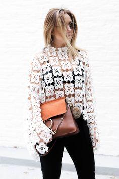 white crochet top / Chloe Faye bag