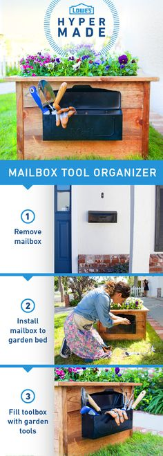 Simplify your gardening experience by attaching an old mailbox to the side of your garden bed. No more trips to and from the garage when you're keeping all your tools and gloves in arm's reach!