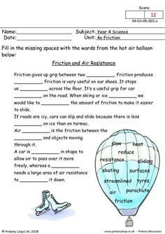 Year Friction - Friction and air resistance Free Worksheets For Kids, Literacy Worksheets, School Worksheets, Primary Resources, Science Resources, Ks2 Science, Physics Lessons, Cloze Activity, Fourth Grade Science