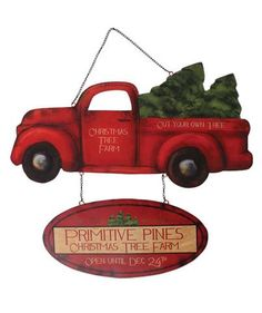 """Primitive Pine Christmas Tree Farm Sign. - 14"""" x 16"""". - Painted tin sign with chain hanger. - Imported."""