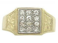 0.52 ct Diamond and 18 ct Yellow Gold Signet Ring - Vintage Circa 1940 SKU: A8837 #goldsignetring #diamondsignetring