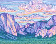 The Valley Sunset by Lizzy Dalton. This print is a reproduction of my original drawing, which was created using colored pens on paper, featuring a colorful depiction of Yosemite Valley at sunset. Archival print that will last over 100 years with proper Kunst Inspo, Art Inspo, Art And Illustration, Art Sketches, Art Drawings, Posca Art, Drawn Art, Color Pencil Art, Art Graphique