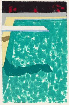 David Hockney: Green pool with diving board and shadow, 1978. Medium unknown.