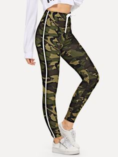 414deac4d Drawstring Waist Tape Panel Camo Leggings
