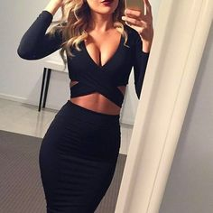 Gender: Women Waistline: Natural Decoration: Hollow Out Sleeve Style: Regular Pattern Type: Solid Style: Sexy & Club Brand Name: Nadafair Material: Cotton,Polyester,Spandex Season: Winter Dresses Leng #bodycondresslongsleeve
