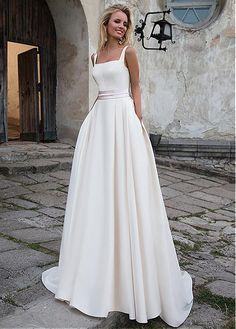 Delicate Satin Square Neckline Natural Waistline A-line Wedding Dress With Belt & Bowknot